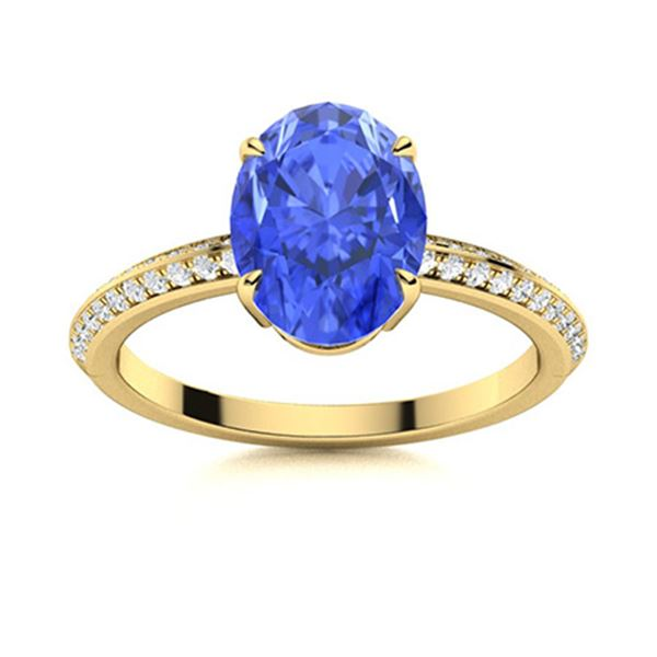 Natural 3.30 CTW Ceylon Sapphire & Diamond Engagement Ring 14K Yellow Gold