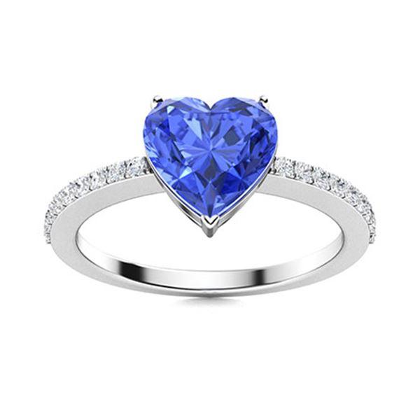 Natural 0.88 CTW Ceylon Sapphire & Diamond Engagement Ring 14K White Gold