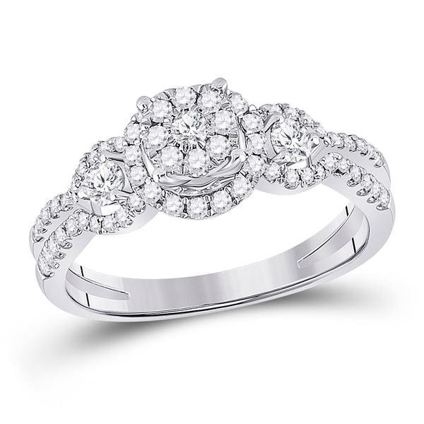14kt White Gold Round Diamond 3-stone Bridal Wedding Engagement Ring 5/8 Cttw