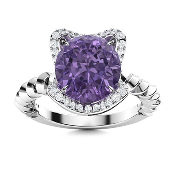 Natural 1.75 CTW Iolite & Diamond Engagement Ring 14K White Gold