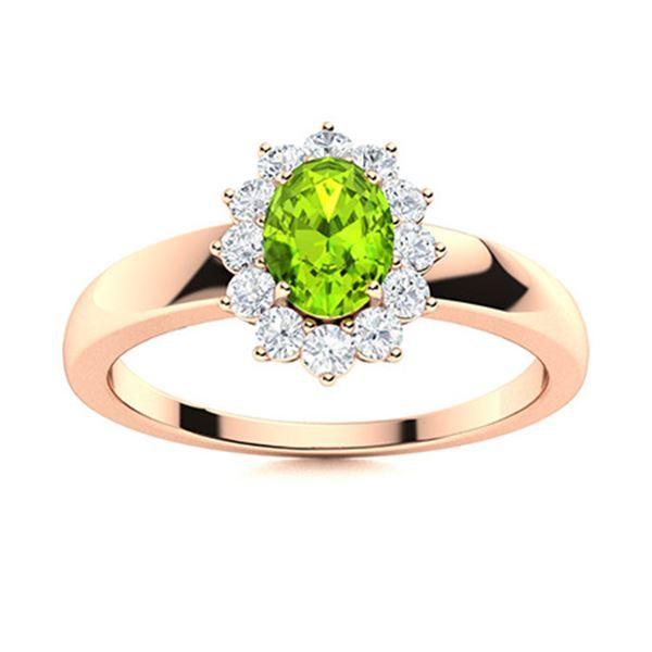 Natural 0.70 CTW Peridot & Diamond Engagement Ring 18K Rose Gold