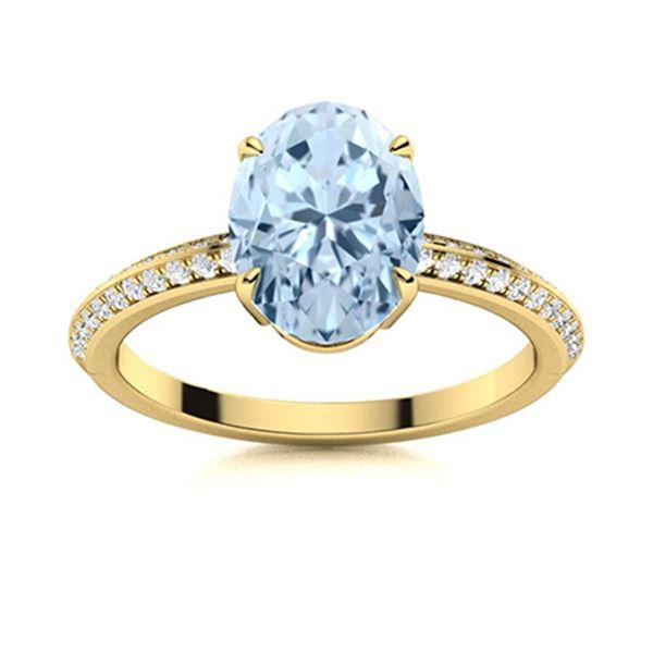 Natural 2.36 CTW Aquamarine & Diamond Engagement Ring 14K Yellow Gold