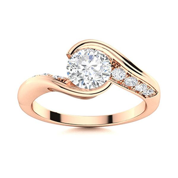 Natural 1.01 CTW Diamond Solitaire Ring 14K Rose Gold