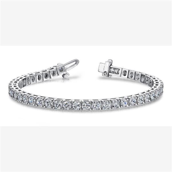 Natural 8.02 CTW Round Brilliant Cut Diamond Tennis Bracelet 14KT White Gold