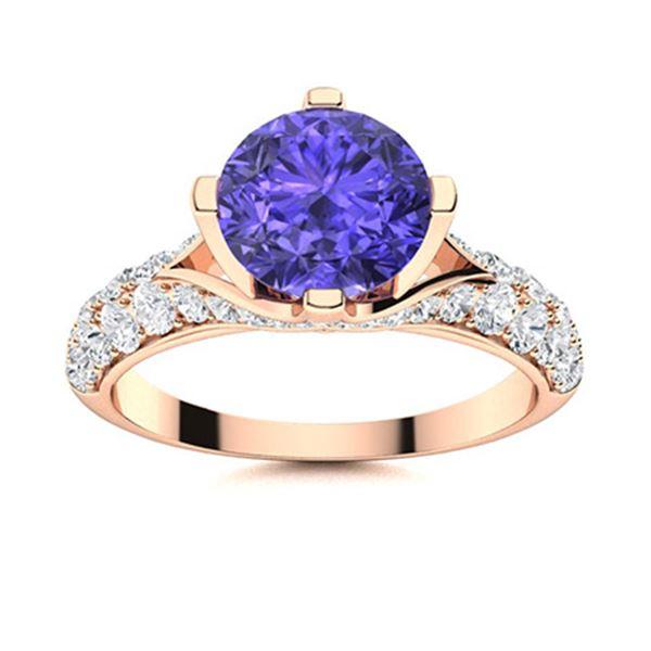 Natural 2.24 CTW Tanzanite & Diamond Engagement Ring 18K Rose Gold
