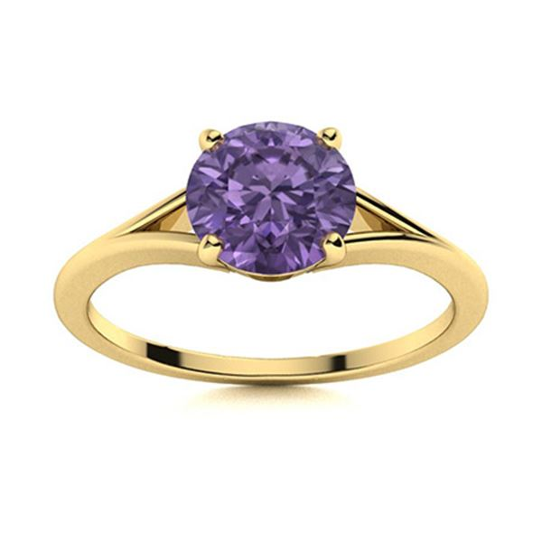 Natural 1.72 CTW Iolite Solitaire Ring 18K Yellow Gold