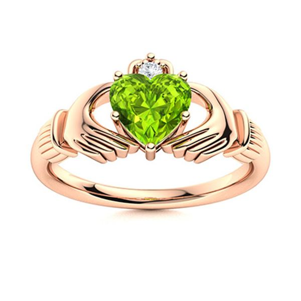 Natural 0.53 CTW Peridot & Diamond Engagement Ring 14K Rose Gold