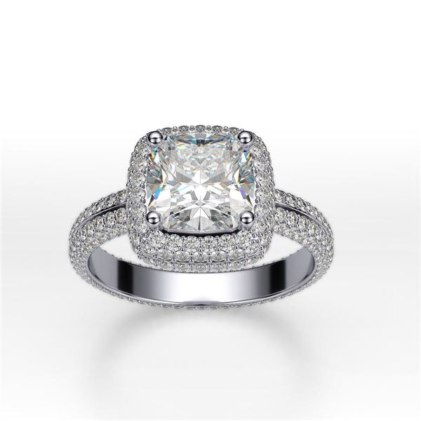 Natural 3.42 CTW Cushion Cut Micro Pave Halo Diamond Ring 14KT White Gold
