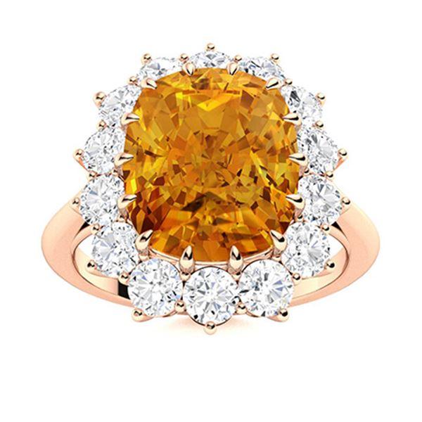 Natural 4.52 CTW Citrine & Diamond Engagement Ring 14K Rose Gold