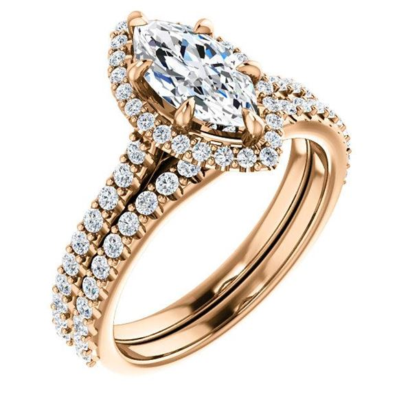 Natural 3.12 CTW Halo Marquise Cut Diamond Ring 18KT Rose Gold