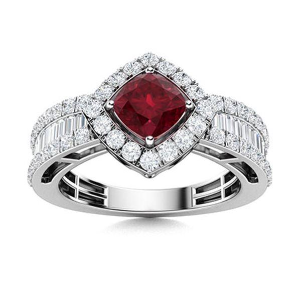 Natural 2.28 CTW Ruby & Diamond Engagement Ring 18K White Gold