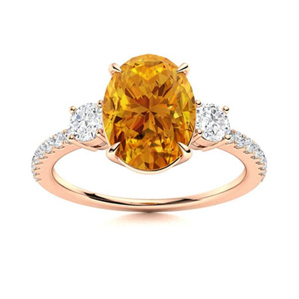 Natural 3.57 CTW Citrine & Diamond Engagement Ring 14K Rose Gold