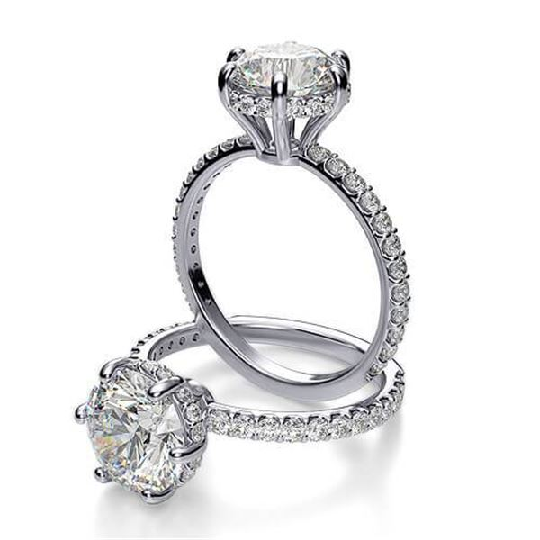 Natural 2.02 CTW Round Cut 6-Prong Side Halo Diamond Engagement Ring 18KT White Gold