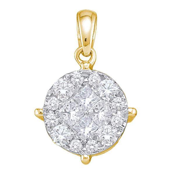 14kt Yellow Gold Womens Princess Round Diamond Cluster Pendant 2 Cttw