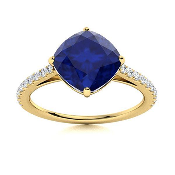 Natural 4.47 CTW Sapphire & Diamond Engagement Ring 18K Yellow Gold
