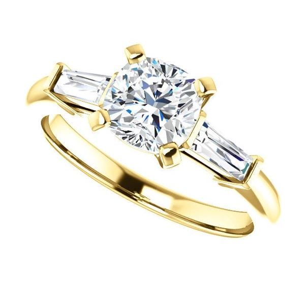 Natural 1.52 CTW Cushion Cut 3-Stone Diamond Ring 14KT Yellow Gold