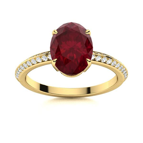 Natural 3.02 CTW Ruby & Diamond Engagement Ring 14K Yellow Gold