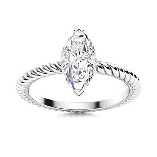 Natural 0.32 CTW Diamond Solitaire Ring 18K White Gold