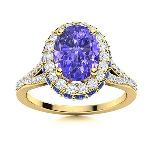 Natural 1.81 CTW Tanzanite, Sapphire & Diamond Engagement Ring 14K Yellow Gold