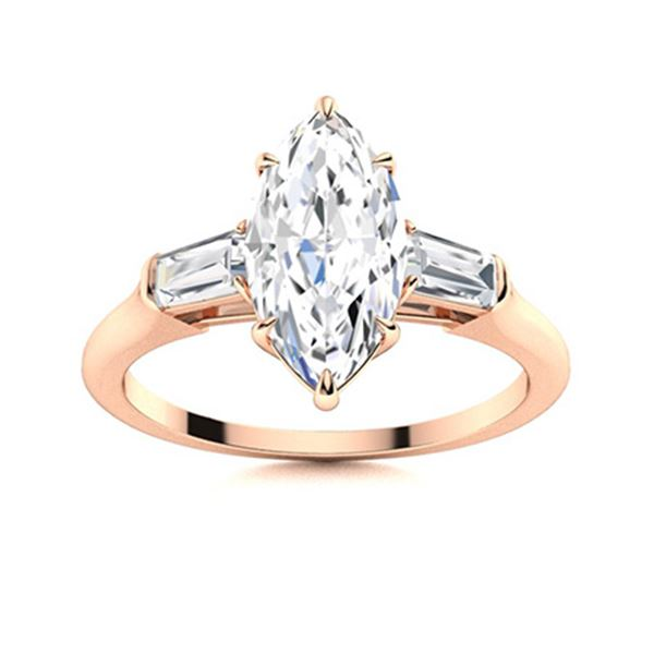 Natural 1.82 CTW Diamond Solitaire Ring 18K Rose Gold