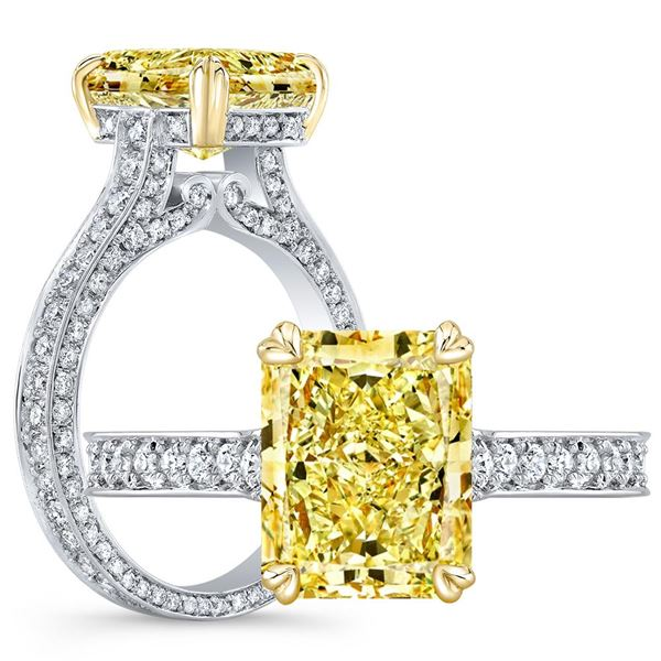 Natural 3.97 CTW Canary Yellow Elongated Radiant Cut Diamond Engagement Ring 14KT Two-tone