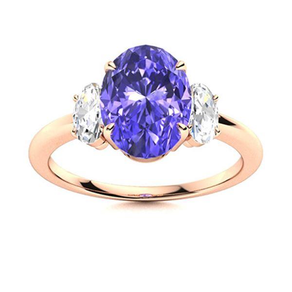 Natural 4.22 CTW Tanzanite & Diamond Engagement Ring 18K Rose Gold