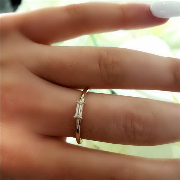 Natural 0.14 CTW Baguette Diamond Ring 14KT Yellow Gold