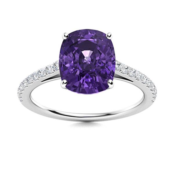 Natural 2.54 CTW Amethyst & Diamond Engagement Ring 14K White Gold