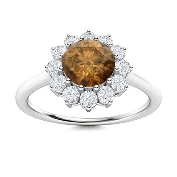 Natural 1.18 CTW Brown & White Diamond Engagement Ring 18K White Gold