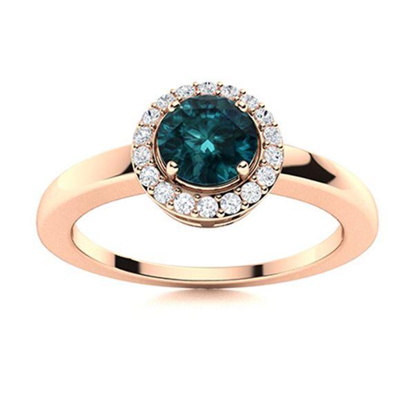 Natural 0.57 CTW Blue & White Diamond Engagement Ring 14K Rose Gold