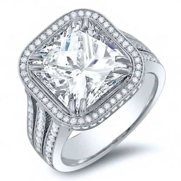 Natural 2.42 CTW Radiant Cut Pave Diamond Split Shank Engagement Ring 18KT White Gold