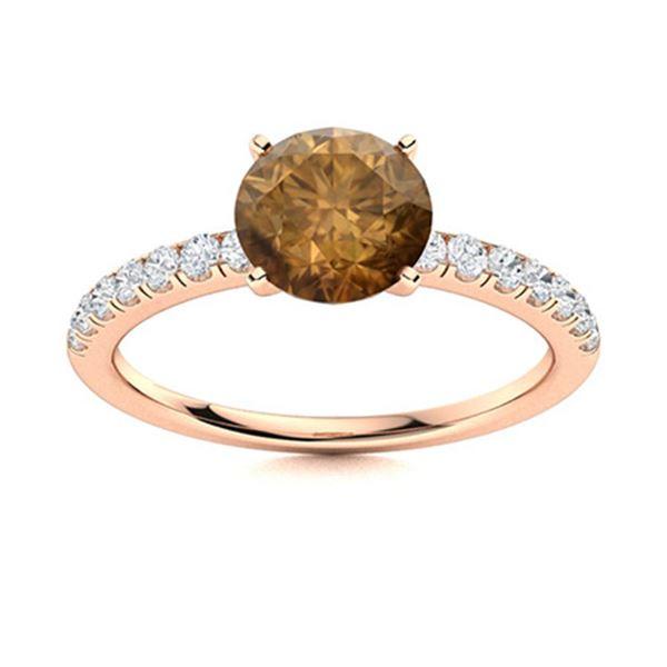 Natural 2.11 CTW Brown & White Diamond Engagement Ring 14K Rose Gold