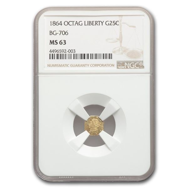 1864 Liberty Octagonal 25 Cent Gold MS-63 NGC (BG-706)