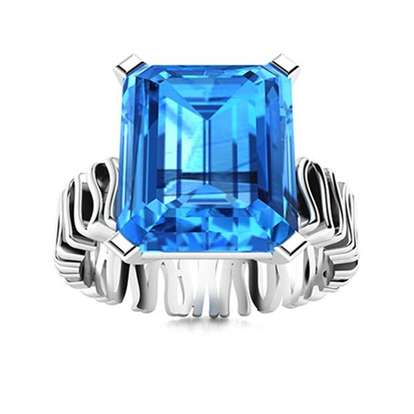 Natural 5.07 CTW Topaz Solitaire Ring 14K White Gold