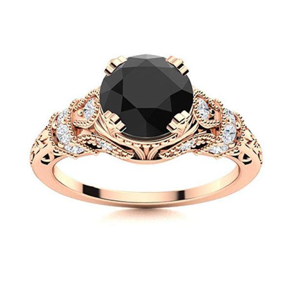 Natural 1.06 CTW Onyx & Diamond Engagement Ring 18K Rose Gold