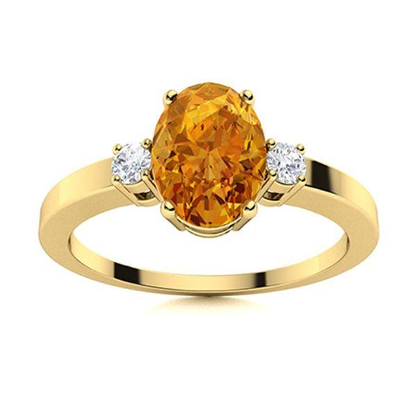 Natural 1.28 CTW Citrine & Diamond Engagement Ring 18K Yellow Gold