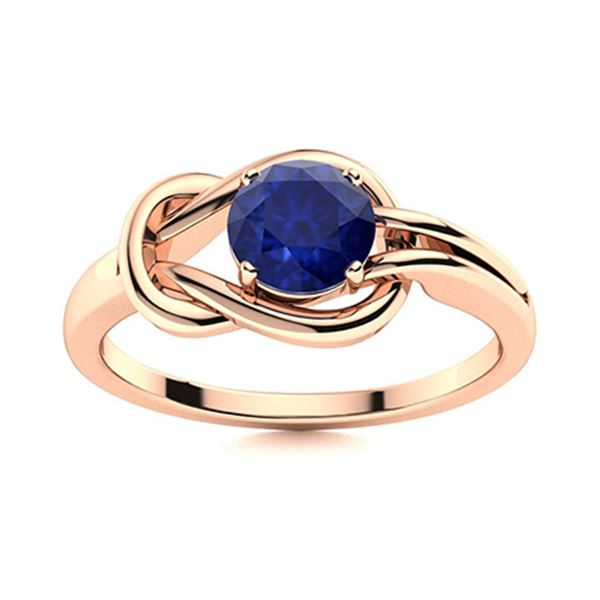 Natural 1.01 CTW Sapphire Solitaire Ring 14K Rose Gold