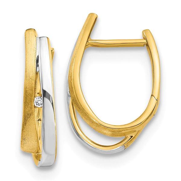 14k Two-tone Diamond Hinged Hoop Earrings - 21 mm