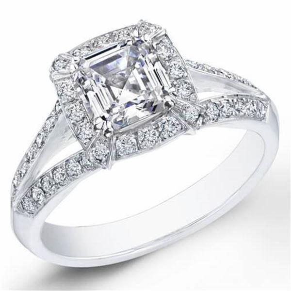 Natural 1.52 CTW Halo Asscher Cut Diamond Ring 18KT White Gold