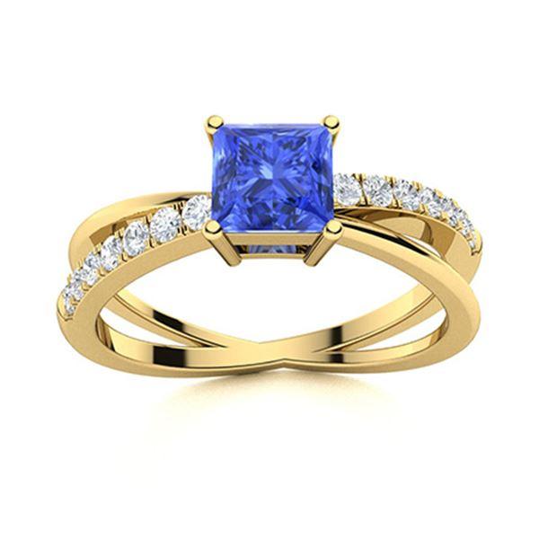 Natural 1.12 CTW Ceylon Sapphire & Diamond Engagement Ring 18K Yellow Gold