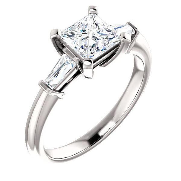 Natural 1.02 CTW Princess Cut & Baguettes 3-Stone Diamond Ring 14KT White Gold