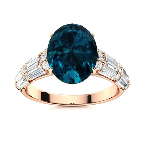 Natural 4.45 CTW Topaz & Diamond Engagement Ring 18K Rose Gold