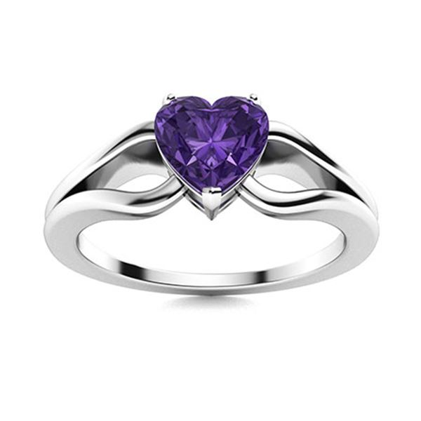 Natural 0.65 CTW Amethyst Solitaire Ring 14K White Gold