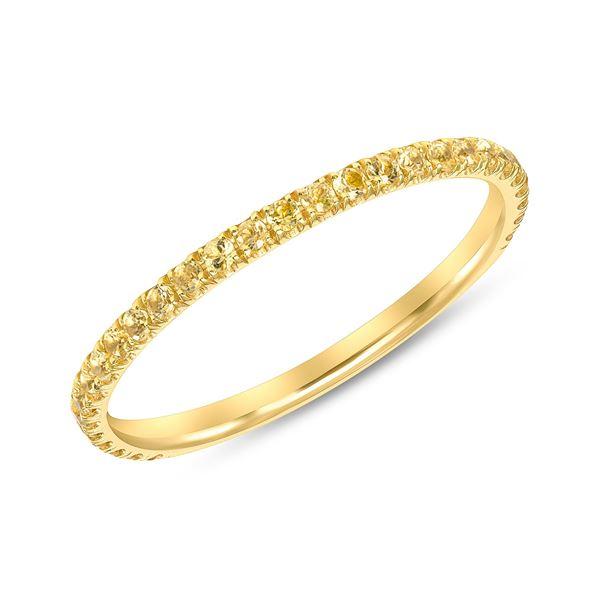 Natural 0.37 CTW Yellow Diamond Eternity Ring 18KT Yellow Gold