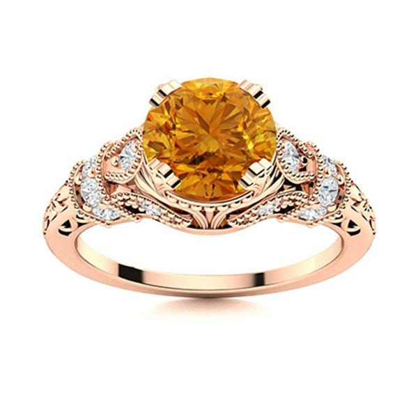 Natural 0.95 CTW Citrine & Diamond Engagement Ring 14K Rose Gold