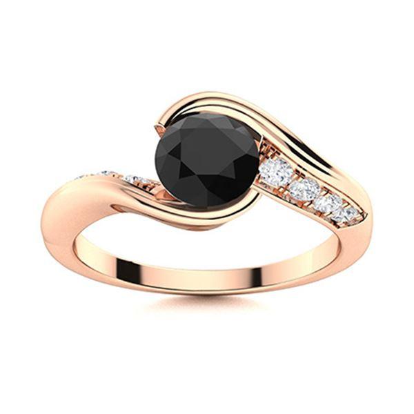 Natural 0.67 CTW Black & White Diamond Engagement Ring 18K Rose Gold
