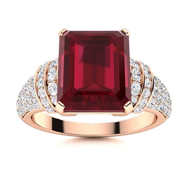 Natural 3.27 CTW Ruby & Diamond Engagement Ring 18K Rose Gold