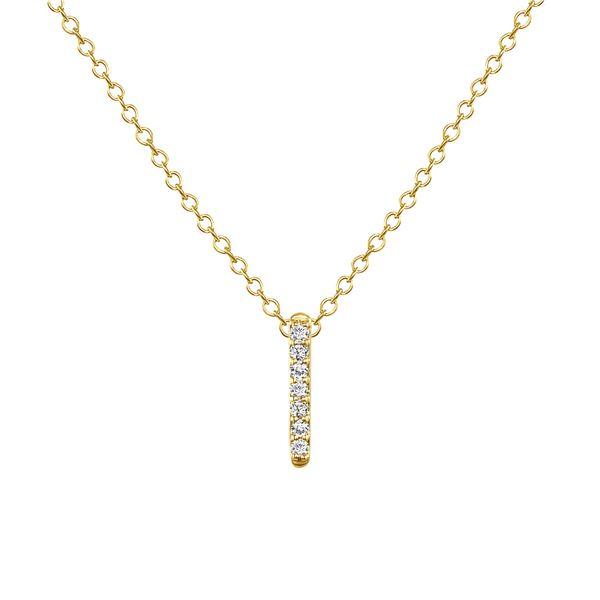 Natural 0.12 CTW California-Dreaming Diamond Bar Necklace 14KT Yellow Gold