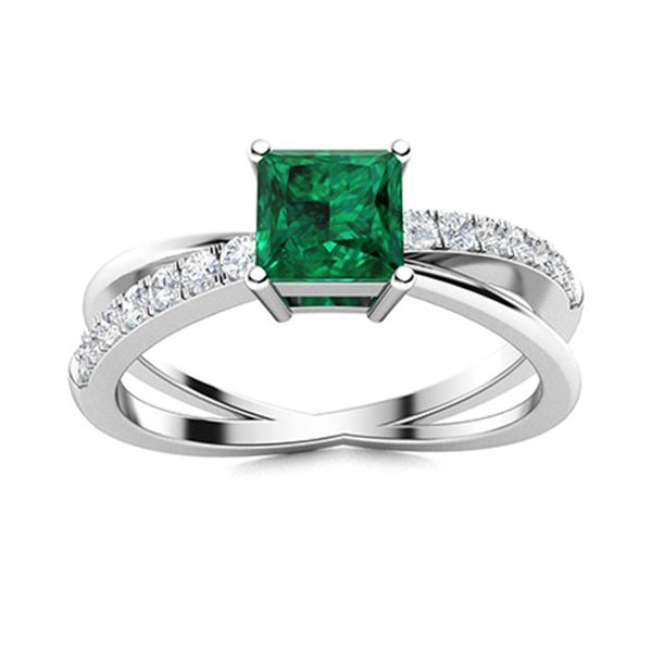 Natural 0.87 CTW Emerald & Diamond Engagement Ring 18K White Gold