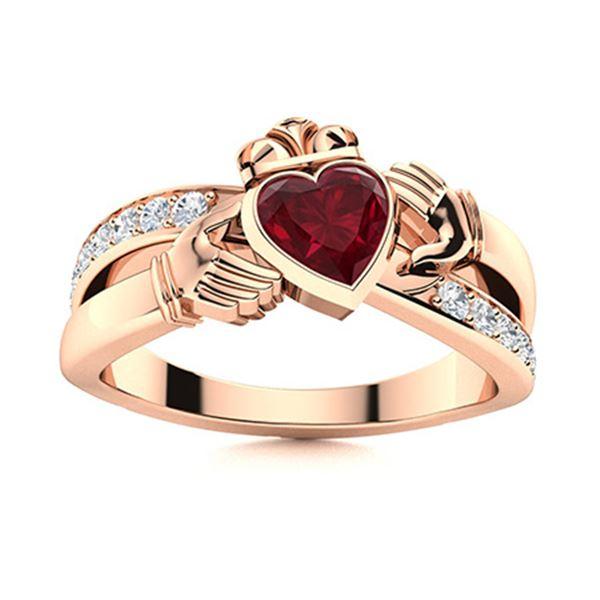 Natural 0.85 CTW Ruby & Diamond Engagement Ring 18K Rose Gold